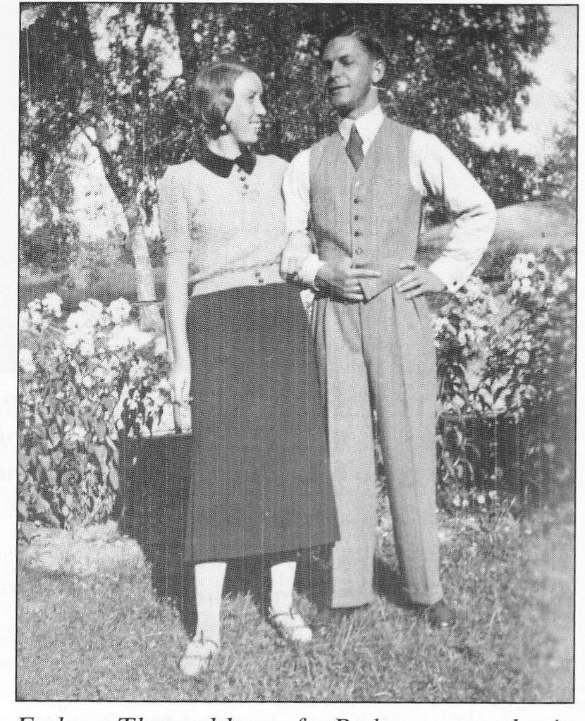 Esther Thorvaldsen f Pedersen med sin første ektemann, Georg Foss.