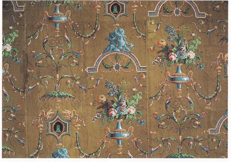 Det bevarte tapetet i Louis Seize-stil fra slutten av 1700-tallet, trolig trykket av Jaqus Revellion i Paris cirka 1785. Det tok tre eksperter tre uker å restaurere tapetet. Foto: Steinar Bjørseth.