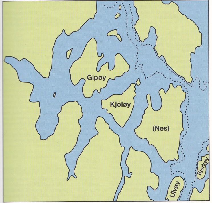 Kart 1: Midtre Nøtterøy ved 10 meter høyere vannstand enn nå, for ca. 2000-2500 år siden.