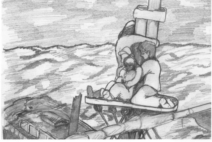 De fire gjenlevende fra «Thekla» berget seg i merset (plattform på masten) i 16 dager.