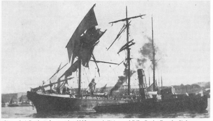 «Lingard» i Gøteborg 2. november 1935 - etter kollisjon med D/S «Gerd». Foto fra Sjøfartsmuseets skrift nr. 24.