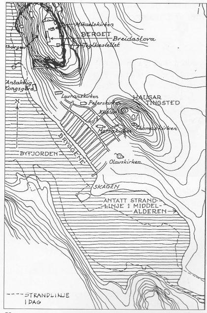 Kart som viser strandlinjen i sundet ved Skeljas teinen, slik det var på Osebergskipets tid, ca. 800. Landet har siden hevet seg 3 meter. Tegning: Vera Hansen.