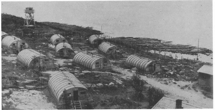 Krigsfangeleiren på Mellom Bollæren, mai 1945. (Foto: Se kildeanvisning).