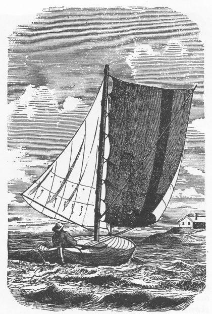 """Lens med spilet fokk. (Fra Eilert Sundts artikkel """"Lods-skøyten"""" i Folkevennen 1864)."""