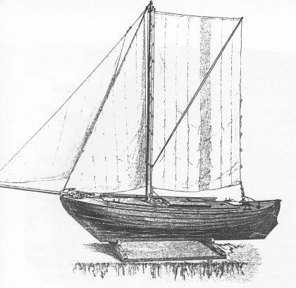 Modell av losskøyte av hvalerbåttypen fra Fiskeriutstillingen i Bergen 1865. (Fra Gøthesen: Skagerrakkysten)