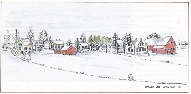 Kjølelia 1946. Tegnet av Tore Paulsen etter foto.