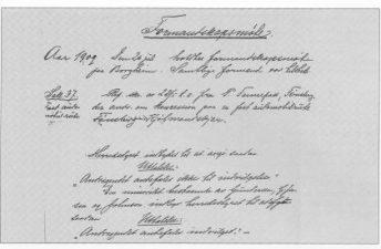 Faksimile av formannskapsprotokollen fra 26. juli 1909.