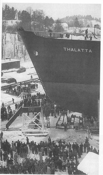 Stabelavløp på Kaldnes 31.01.1951. Wilh. Wil-helmsens «Thalatta», B/N 133. Foto utlånt av Vestfold fylkesmuseum.