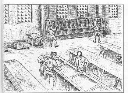 Fra plateverkstedet - oppmerking av skipsplater. Tegning av William A. Liverød.
