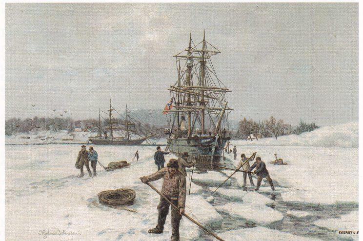 Isen vekkes på senvinteren slik at ishavsskutene kan komme avsted fra Vestfold til fangstfeltene. Etter maleri av Hjalmar Johnssen (1852 - 1901).