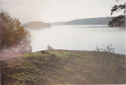 (Fig. 6) Utsikt over fjorden mot Verjø. Midt på bildet ses gravhaug nr. 1 (Tatt fra haug 2.)