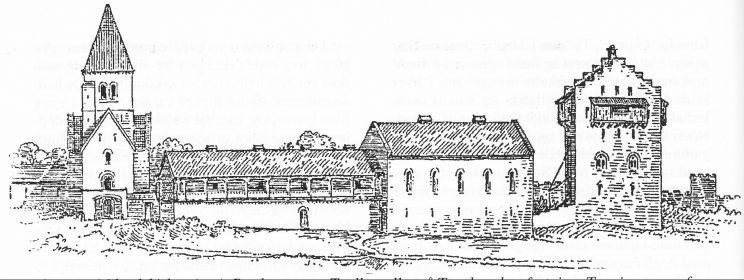 Skisse av Mikaelskirken (t.v.), Bredestuen og Teglkastellet på Tunsberghus festning. Tegning av professor Johan Meyer.