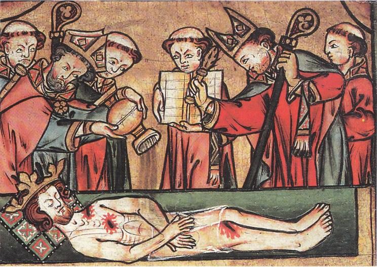 Hellig-Olav skrinlegges av to bisper og fire prester og blir stenket med vievann. (Fra Luthen: I pilegrimenes fotspor).
