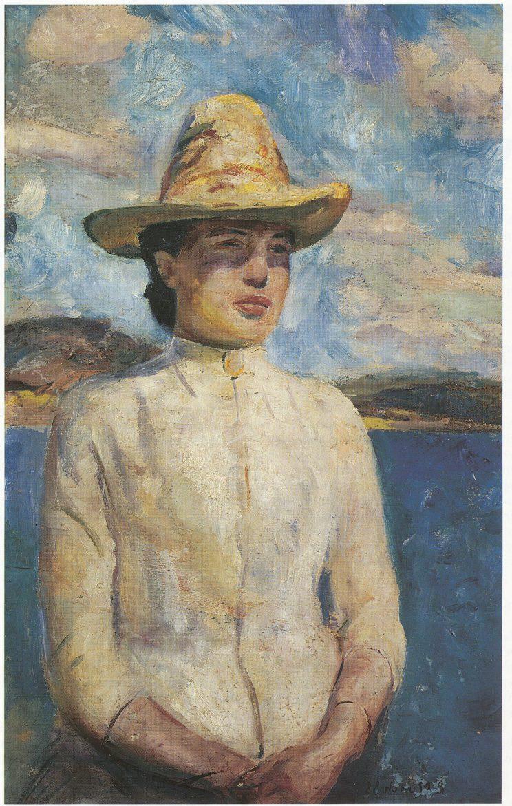 Søster Inger i solskinnet, malt i Vrengen 1888. Tilhører Bergen Billedgalleri.