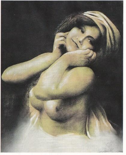 Ragnvald Knudsen hadde som sin bestefar kunstneriske evner. I sin ungdom studerte han kunst i Paris. Dette er en av hans vakre pastelltegninger. (Eies i dag av Gjert Lilje, Brevik)
