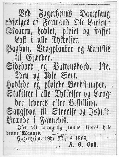 Faksimile av Tunsbergeren 24.3. 1869.