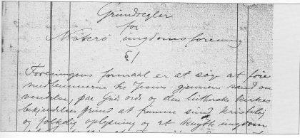 Faksimile av første side i foreningens protokoll - formålsparagrafen.