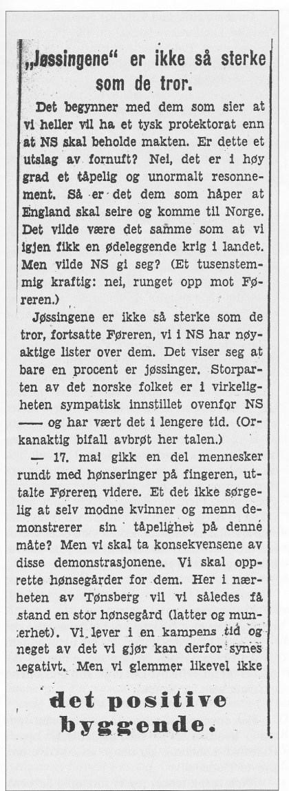 Utdrag av Quislings tale ved ungdomsfylkingens pinsestevne ved Borrehaugene. Referert i Tønsbergs Blad 26. mai 1942.