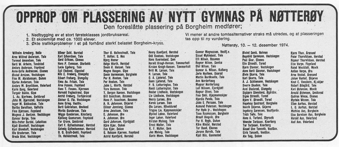 Opprop i Tønsbergs blad 14. desember 1974.