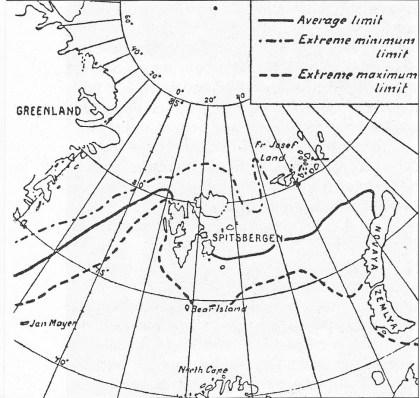"""1912 ble et dårlig år. — Isen ligger spredt over hele havet fra Bjørnøya og rett vest-nord-vest over. — Kart som viser isgrensen i august måned ifølge gjennomsnittet av 20 års observasjoner. (Helge Ingstad: """"Landet med de kalde kyster"""".)"""