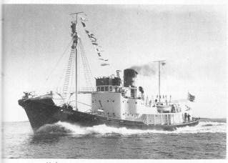Hvalbåten Gos IV. Bygg mr. 101 fra Kaldnes - type VIII. (Foto utlånt av Ragnar Aasland.)