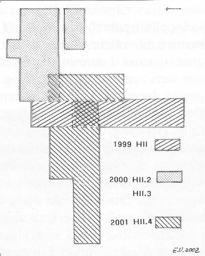 Oversikt over utgravd område og når de forskjellige deler av feltet ble gravet.