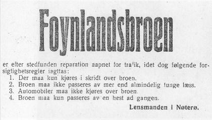 """Annonse i Vestfold Arbeiderblad 7. 10. 1917 om begrensninger i trafikken over broen. Undertegnet av """"Lensmanden i Nøterø """"."""