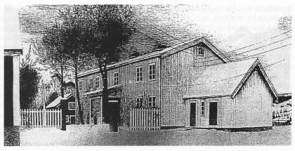 """""""Jolemorgon i Beitstad prestegård 1929. """" Johs. var sogneprest i Beitstad i Nord-Trøndelag fra 1929 til han ble avsatt av nazistene i 1943. (Tegnet av kartografen Ivar Refsdal, Aanderaas svigerfar.)"""