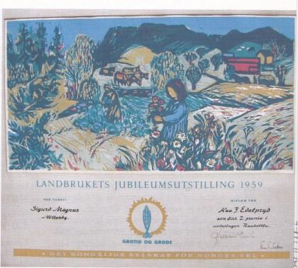 Diplom tildelt raukolla Edelpryd. Diplomet er malt av Terje Grøstad. (Utlånt av Sigrid Evensen)