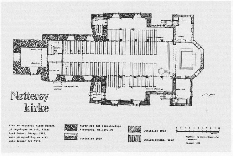 Grunnplan av Nøtterøy kirke ved arkitekt Thore Holm. (Fra Odd Lande: Nøtterøy kirke 800 år)