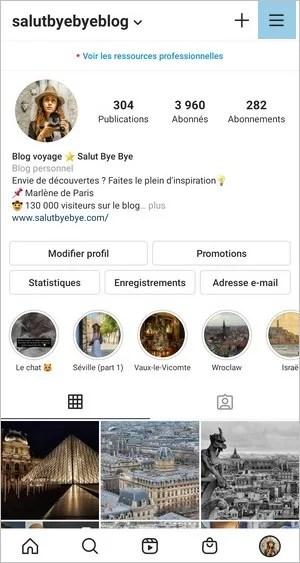 Instagram options