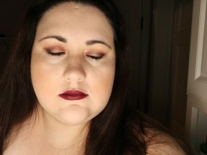 Mary with makeup look eyes closed