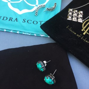 Necklace and two pairs of earrings