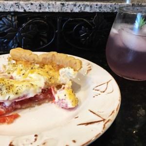 Tomato pie and lemonade cocktail