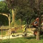Obres de renovació de l'enllumenat al parc Central de Nou Barris