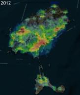 Contaminación lumínica en 2012.