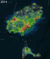 La contaminación lumínica en 2014.