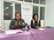 Los diputados Aitor Morrás y Marta Maicas de Podem-Eivissa, en una rueda de prensa.