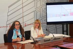 Viviana de Sans  toma la palabra durante la rueda de prensa de hoy en el Consell Insular.