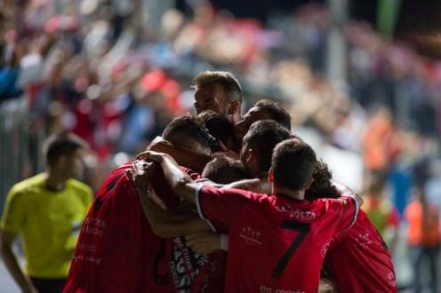Celebración del gol de Liñán. Foto: Paco Natera (Fútbol Pitiuso)