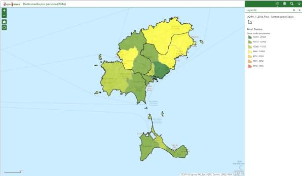 Mapa de la renta en Ibiza y Formentera. En verde oscuro, las zonas más ricas