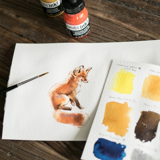acrylic inks fox painting