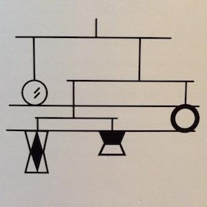 Schéma mobile de Munari issu du livre 60 activités Montessori pour mon bébé de Marie-Hélène Place