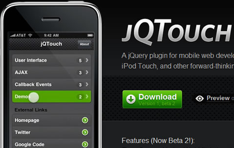 JQTouch in Fresh Web Development Goodies Bag