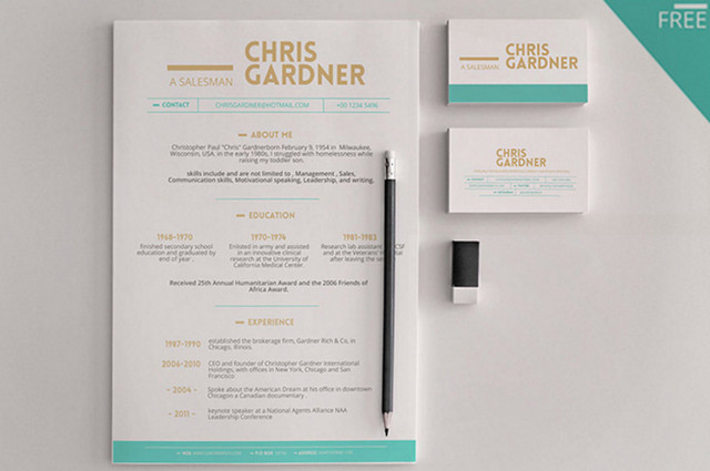 Best of 2015  100 Free Business Cards  Resumes  CVs  Corporate     minimalistic resume