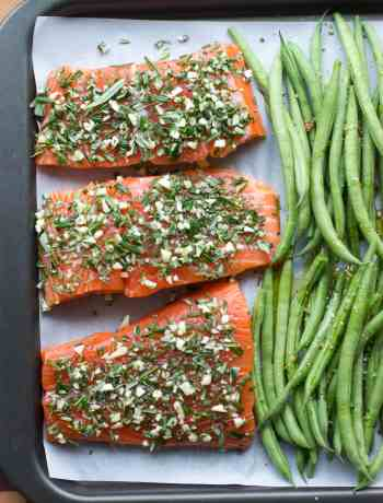 rosemary garlic sheet pan salmon, quick easy weeknight supper