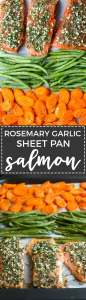 Rosemary garlic sheet pan salmon | A quick, healthy weeknight meal with the easiest prep and clean up.