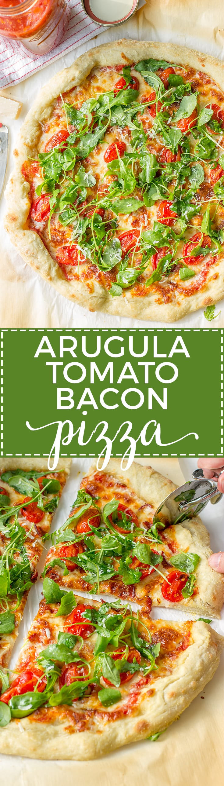 Arugula tomato bacon pizza delivers major flavor and is quick for a weeknight. www.nourish-and-fete.com