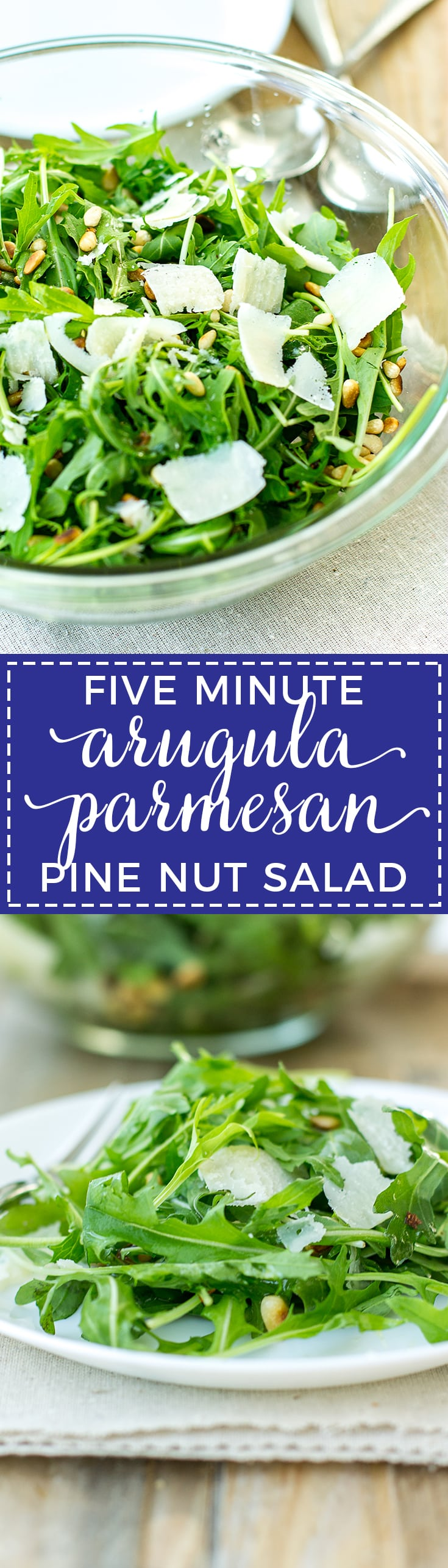 An arugula parmesan pine nut salad that's ready in five minutes (really!), out-of-this-world delicious, and great for casual weeknights or entertaining.