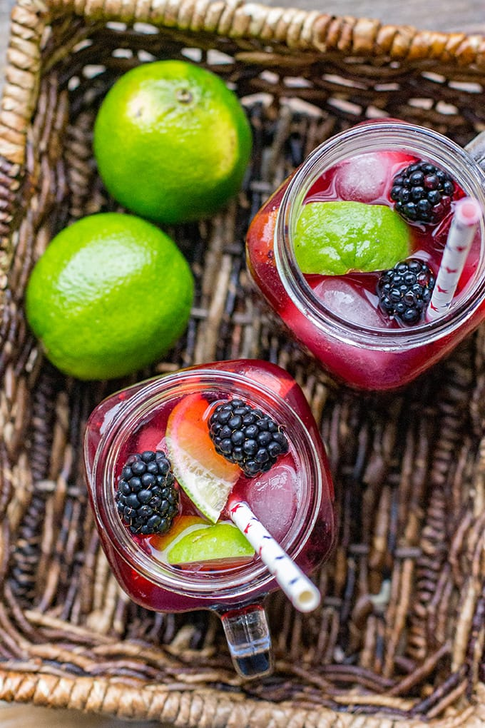 Blackberry lime margaritas are a great summer cocktail, and the perfect drink for your BBQ, cookout, or summer celebration.